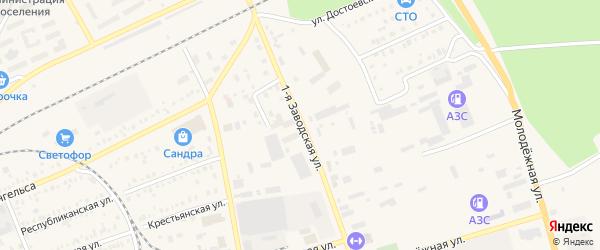 Первая Заводская улица на карте Давлеканово с номерами домов