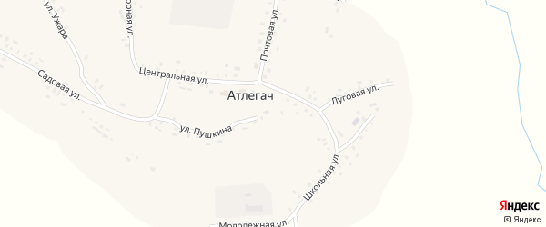 Нагорная улица на карте села Атлегача с номерами домов