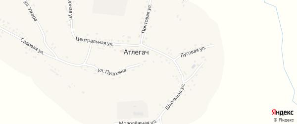 Луговая улица на карте села Атлегача с номерами домов