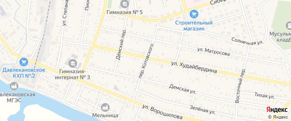 Переулок Котовского на карте Давлеканово с номерами домов