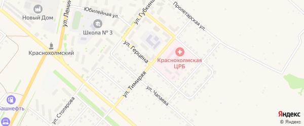 Тимиряя улица на карте села Краснохолмского с номерами домов