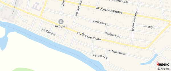 Улица Ворошилова на карте Давлеканово с номерами домов