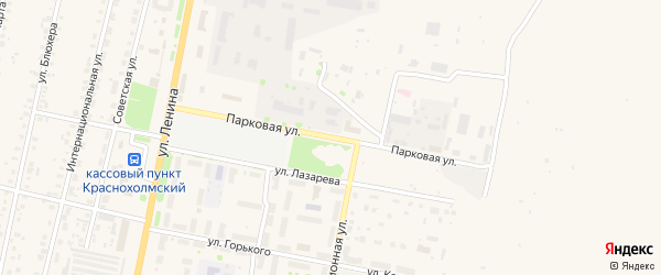 Парковая улица на карте села Краснохолмского с номерами домов
