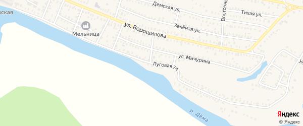 Луговая улица на карте Давлеканово с номерами домов
