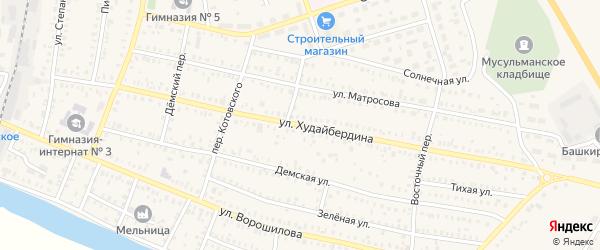 Улица Худайбердина на карте Давлеканово с номерами домов