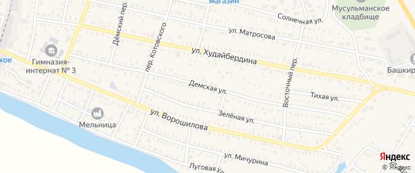 Демская улица на карте Давлеканово с номерами домов