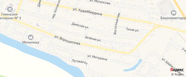 Зеленая улица на карте Давлеканово с номерами домов