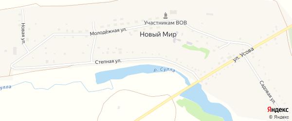 Степная улица на карте деревни Нового Мира с номерами домов