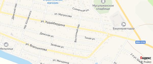 Восточный переулок на карте Давлеканово с номерами домов