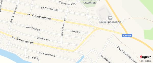 Тихая улица на карте Давлеканово с номерами домов