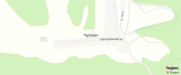 Центральная улица на карте деревни Чулпана с номерами домов
