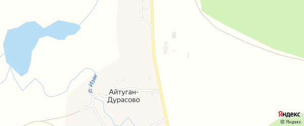 Дорожная улица на карте деревни Айтуган-Дурасово с номерами домов