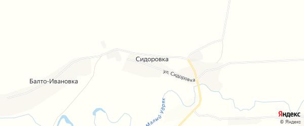 Карта деревни Сидоровка в Башкортостане с улицами и номерами домов