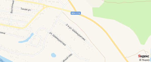Улица Вторая Шаймуратова на карте Давлеканово с номерами домов