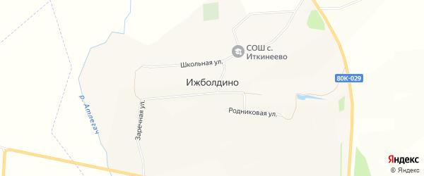 Карта села Ижболдино в Башкортостане с улицами и номерами домов