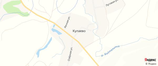 Карта деревни Купаево в Башкортостане с улицами и номерами домов