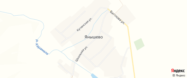 Карта села Янышево в Башкортостане с улицами и номерами домов
