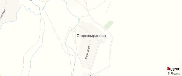 Карта деревни Староюмраново в Башкортостане с улицами и номерами домов