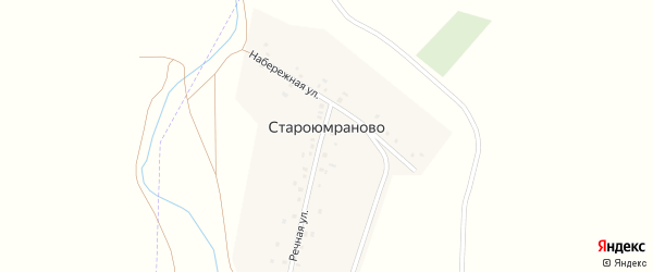 Набережная улица на карте деревни Староюмраново с номерами домов