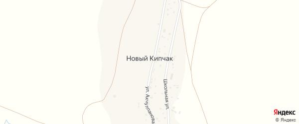 Школьная улица на карте деревни Нового Кипчака с номерами домов