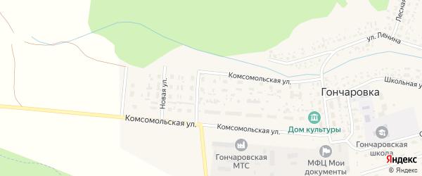 Западная улица на карте деревни Гончаровки с номерами домов