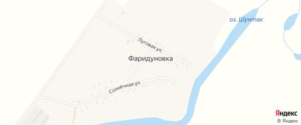 Солнечная улица на карте деревни Фаридуновки с номерами домов