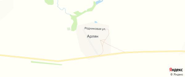 Карта деревни Арляна в Башкортостане с улицами и номерами домов