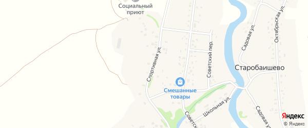 Спортивная улица на карте села Старобаишево с номерами домов
