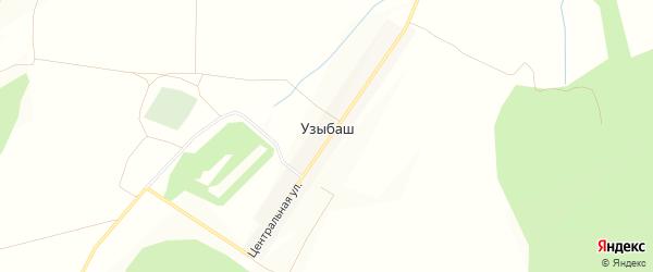 Карта деревни Узыбаша в Башкортостане с улицами и номерами домов