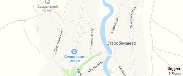 Советский переулок на карте села Старобаишево с номерами домов