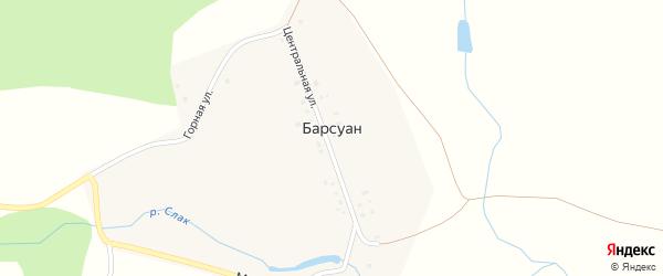 Центральная улица на карте деревни Барсуана с номерами домов
