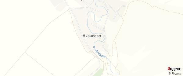 Карта села Аканеево в Башкортостане с улицами и номерами домов