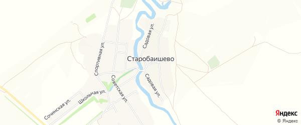 Карта села Старобаишево в Башкортостане с улицами и номерами домов