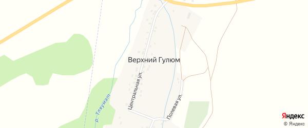 Лесная улица на карте деревни Верхнего Гулюма с номерами домов