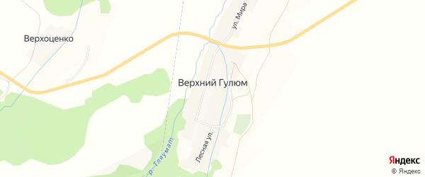 Карта деревни Верхнего Гулюма в Башкортостане с улицами и номерами домов