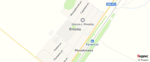 Карта села Вперед в Башкортостане с улицами и номерами домов