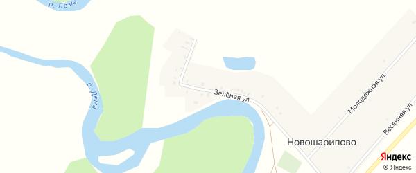 Зеленая улица на карте деревни Новошарипово с номерами домов