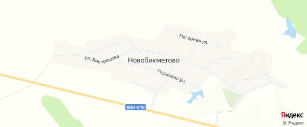 Карта деревни Новобикметово в Башкортостане с улицами и номерами домов