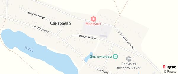 Школьная улица на карте деревни Саитбаево с номерами домов