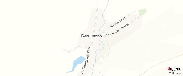 Карта деревни Бигиняево в Башкортостане с улицами и номерами домов