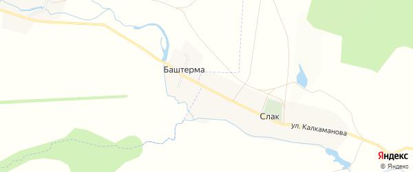 Карта деревни Баштермы в Башкортостане с улицами и номерами домов