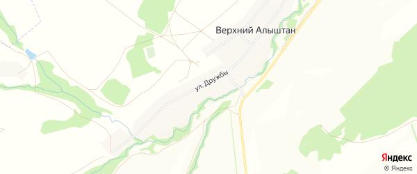 Карта деревни Верхнего Алыштана в Башкортостане с улицами и номерами домов