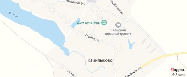 Горная улица на карте деревни Каинлыково с номерами домов