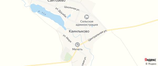 Карта деревни Каинлыково в Башкортостане с улицами и номерами домов