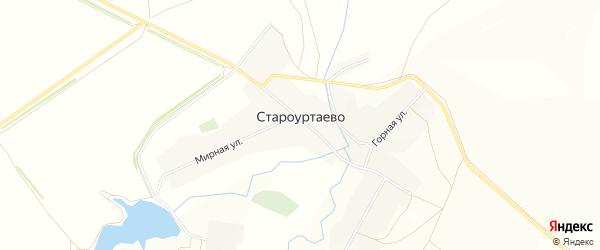 Карта села Староуртаево в Башкортостане с улицами и номерами домов