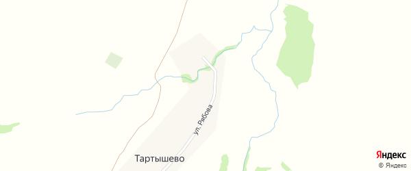 Дорожная улица на карте деревни Тартышево с номерами домов