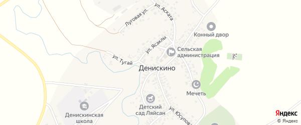 Луговая улица на карте села Денискино с номерами домов