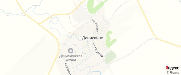 Карта села Денискино в Башкортостане с улицами и номерами домов