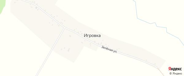 Зеленая улица на карте деревни Игровки с номерами домов