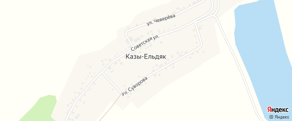 Озерная улица на карте деревни Казы-Ельдяк с номерами домов